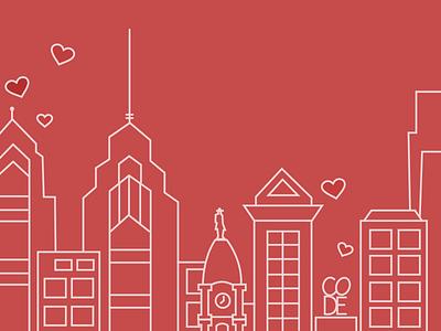 Peers Philadelphia philadelphia line illustration blog dev peers heart love philly