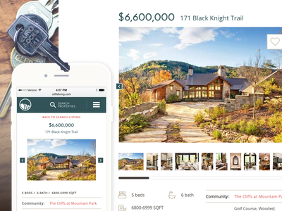 The Cliffs | Property Detail Page simple clean icon mobile responsive luxury real estate ui ux