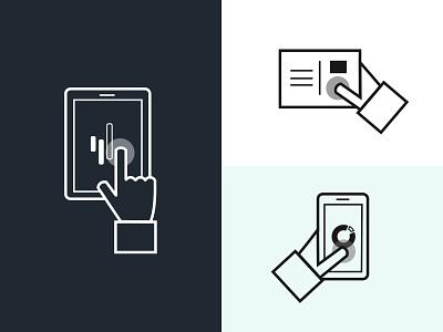 Effective Channels mobile hand multichannel interaction flat line device illustration