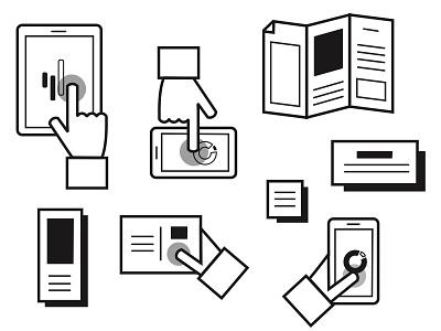 Effective Channels #2 mobile hand multichannel interaction flat line device illustration