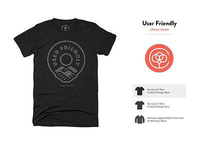 User Friendly cotton bureau t-shirt jay fletcher ehouse screenprint black handshake