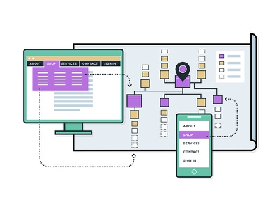 Are You Sure You Need A Sitemap? map phone device ux ia flat monitor thick lines illustration sitemap