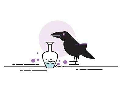 Design Sprints: Thirsty Crow bird thirsty crow illustration pot crow design sprints