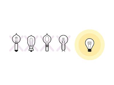Design Sprints: Failure illustration lightbulb success failure design sprints