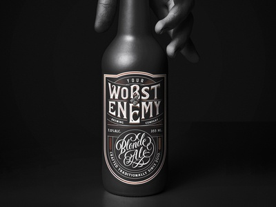 Your Worst Enemy Brewing Co. alcohol logo logotype branding blonde ale beer label lettering handlettering beer brewing