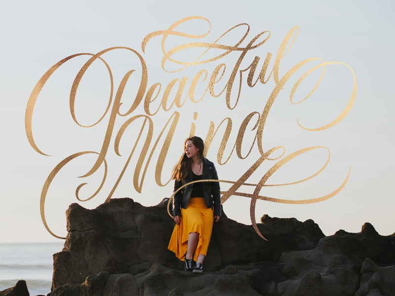 Peaceful Mind photography letters gold model beach hand lettering mind peaceful lettering handlettering