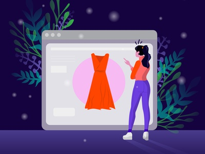 Online shopping landingpage website shopping cart store online shop cart shopping illustration design