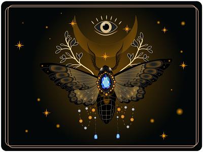 Night magic cosmos energy jewels witchcraft witch magic moth creative illustration design