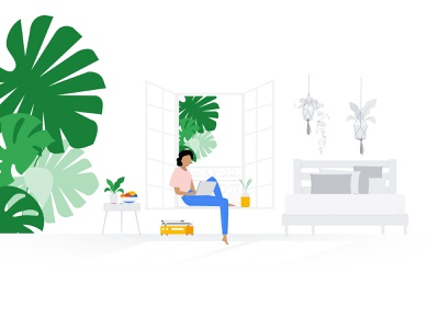Working from home remote work nature work creative illustration take care quarentine home office home design