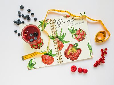Illustrations for Grandma cook book foodie veggie vegetable plant print book recipe cookbook cook creative illustration design