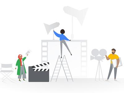 Showtime! showtime shows creative movieset set film action movies illustration design