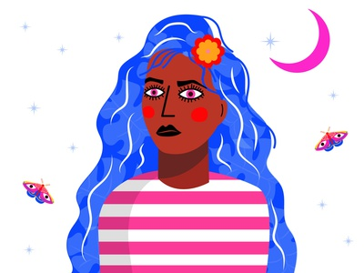 Moon Child moonchild magic moth moonshine roots indigenous dream dreamer creative illustration design