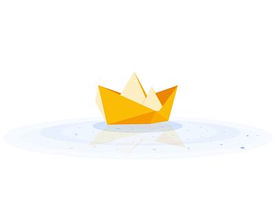 Drifting away nature creative vector origami boat mental floating mentalhealth illustration design