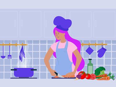 Quarantine life got me cooking chef lifestyle vector cooking cook quarantine life quarantine illustration design