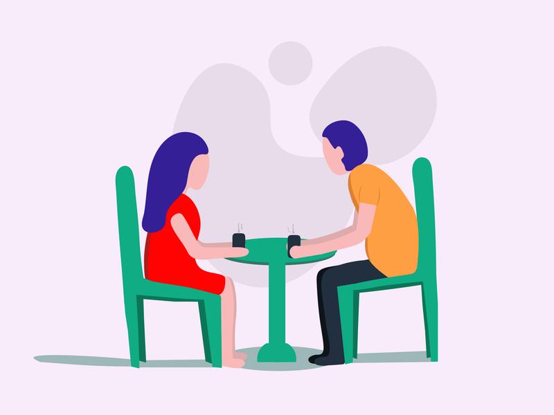Talk Over Tea —Flat Illustration Character Design vector design illustration design flat art flat  design flat illustration adobe illustrator illustration adobe