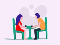 Talk Over Tea —Flat Illustration Character Design