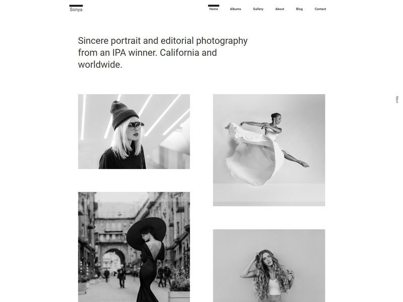 Sonya - Photography WordPress Theme responsive portfolio photography theme photography photographer photo personal blog parallax one page minimal gallery fullscreen creative clean agency