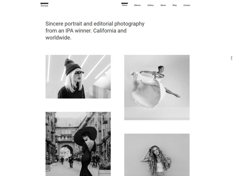 Sonya - Photography WordPress Theme responsive portfolio photography theme photography photographer photo personal blog parallax one page minimal gallery fullscreen creative clean agency