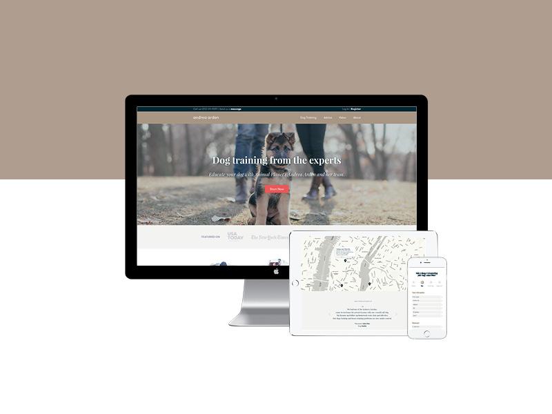 Responsive: desktop, tablet and mobile — Andrea Arden website ui design clean branding web userinterfacedesign mobiledesign dogtraining digitaldesign websitedesign responsivewebsite