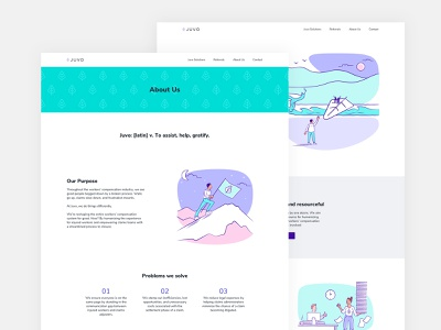 Juvo website, about and home page clean website workers violet workers comp blue pink purple white white background whitebackground illustration typography websitedesign website design website juvo clean