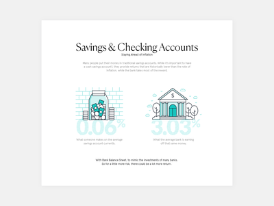 Finance infographics, savings and checking accounts data illustration lineillustration design green icon infographic infographic elements line lineicon numbers percentage percentages texture typography finance fintech