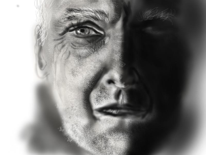 Older man values shadows black and white digital art portrait drawing art digital digital portrait