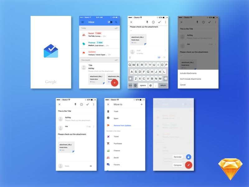 Google Inbox mockup (Sketch freebie) sketch freebie google inbox ui file mockup