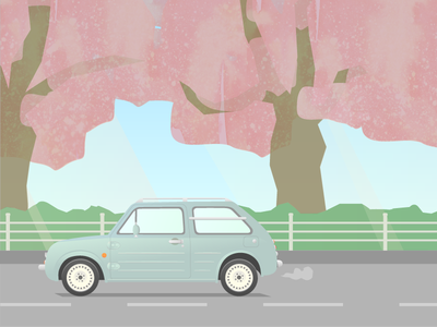 Pao illustration cars pao nissan japanese drive cherry blossoms spring