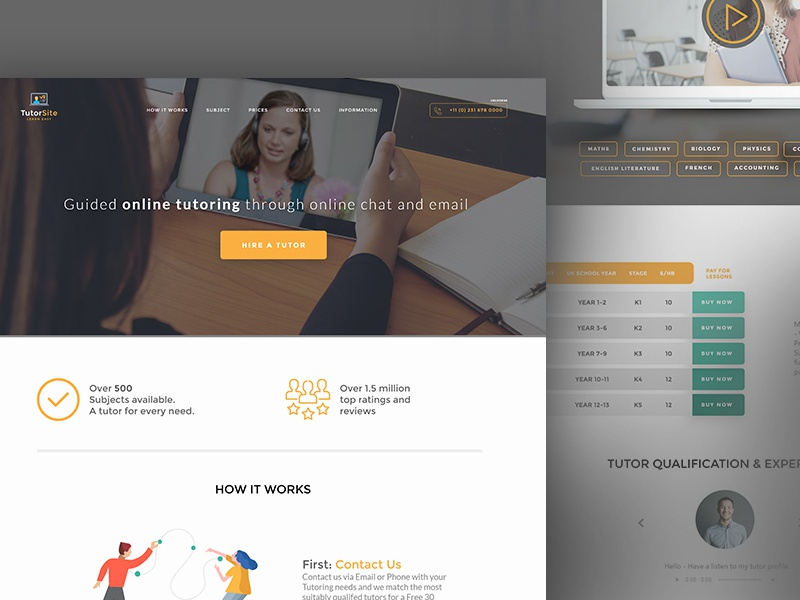 Free Template of Educational Web Site download free download freemium ux website concept landing page xd adobe xd free