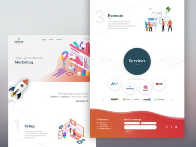 FREE Landing Page for Marketing Business - Adobe XD creative lib marketing campaign marketing agency marketing site landing page design download free download freemium uxdesign uidesign adobe xd freebie free