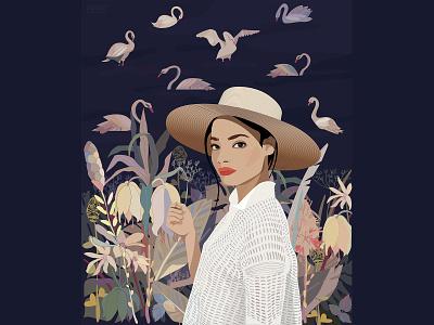 SWAN LAKE vector art vector illustration adobe illustrator poster art character minimal illustration vector illustrator women in illustration woman illustration woman portrait girl portrait swans lake swan