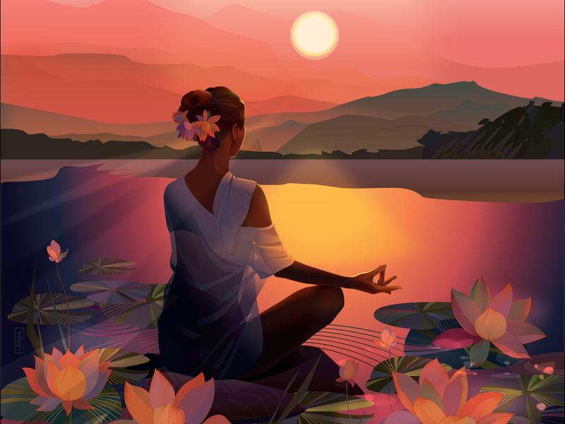Meditation portrait adobe illustrator poster illustration vector illustrator sunset woman illustration woman portrait girl illustration lake lotus flower lotus yoga meditation