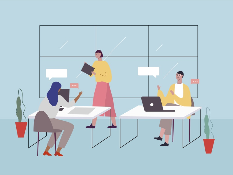 working workspace office design work office people decorations friends vector design characters design illustration