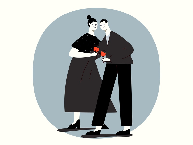 Carmener wine love couple idea people concept diseño vector design characters design illustration