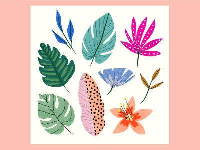 leaves hand drawn vectors leaves decorations vector characters design illustration