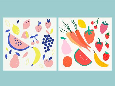 Illustrations for Freepik decorations verduras fruits vector ilustración diseño