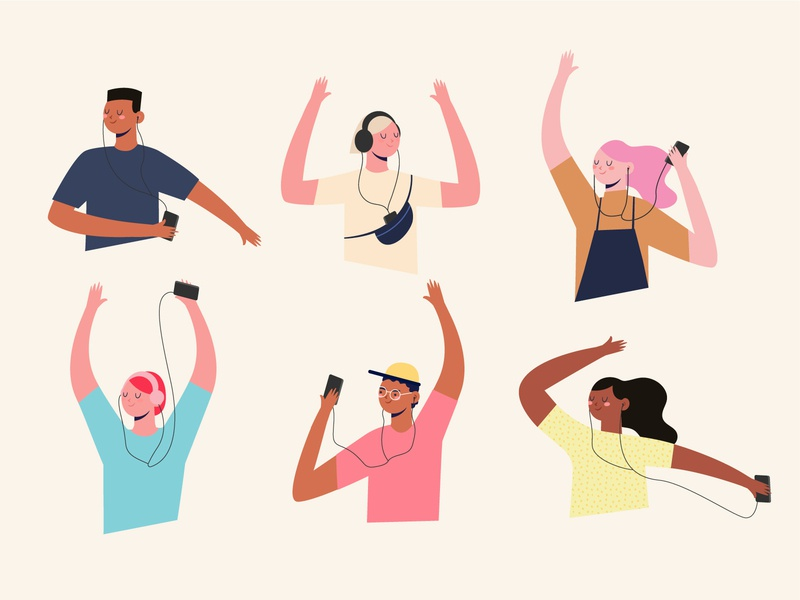 People listening to music music people friends vector characters design illustration