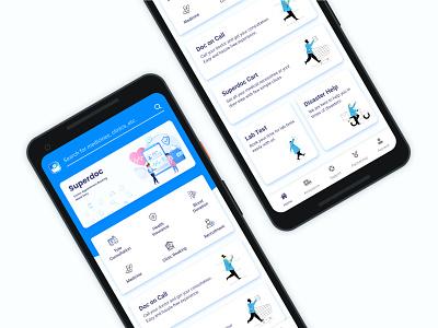 Superdoc - Healthcare App Design app visual ui  ux health app healthcare minimal ux design ui