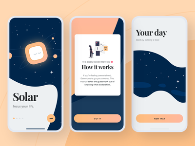 Solar Task Manager task management space minimal clear clean zen education ux ui visual design application app mobile branding illustration ui design