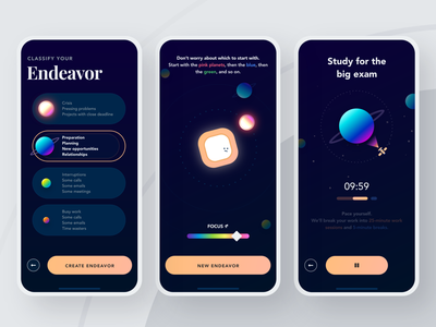 Solar Task Manager | 2 simple mobile iphone tool education ux dark theme ios app mobile application mobile app branding task manager space colorful clean minimal design ui