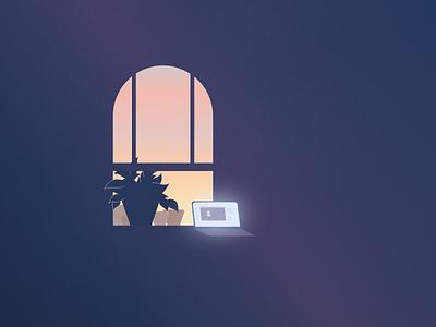 Cozy work-at-window garden 🌇 design minimal fun laptop cozy vector garden plant los angeles weeklywarmup illustration