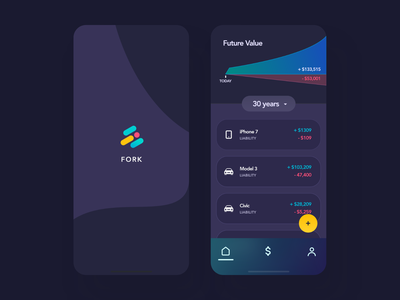 Fork - Finance & Liabilities Concept product mobile app mobile ui banking app banking money finance app finance app design app ios simple colorful clean minimal design