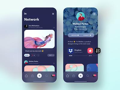 LinkedIn UI Exploration 🔭Dark Mode ✨ dark mode ux ui social app profile product design product networking mobile app mobile minimal microsoft linkedin iphone app iphone feed app design colorful clean app