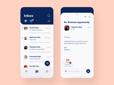 Simple Email App gmail iphone app flat productivity app product conversation email design product design calm clean minimal iphone ios mobile ui application app mobile app ux ui