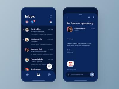 Simple Email Client –Friendly Dark Mode productivity app ux design blue app dark ui simple iphone email client email email app dark mode ux mobile app ios product design clean product app design ui minimal