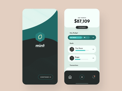 Mint Concept – Finance App banking budgeting app budget application iphone ios mint green mint finance app finance money green colorful mobile app app clean design ux ui minimal