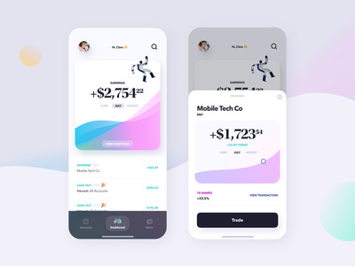 Mobile Investment App money management gradient colorful investment app investing investment mobile app money fintech banking finance iphone ux product design ios product clean design ui minimal