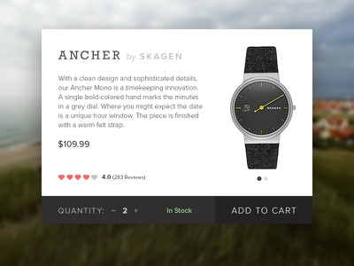 Clean Product Card! watch skagen dailyui product minimal ui