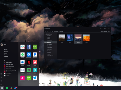 Windows 10 Dark Mode windows 10 windows dark theme dark mode dark ui apple microsoft design product minimal ui