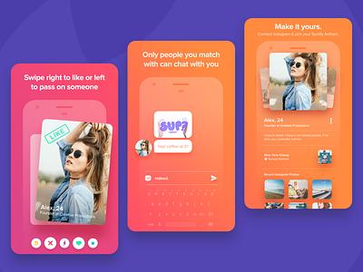 Tinder - App Store Branding colorful color palette app design product designer ui designer play store app store ux design ui design mobile app app dating ui design tinder product design